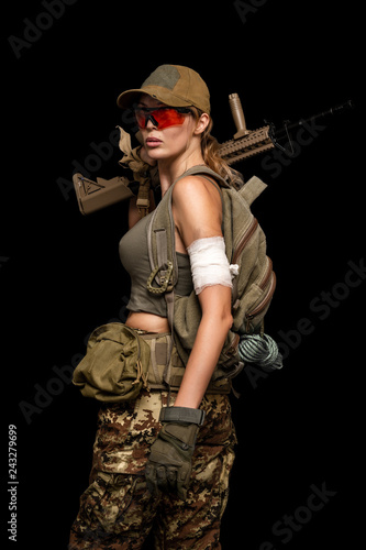 Fotografie, Obraz  military girl with automatic rifle. Dooms day