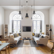 Living Room With Arch Windows