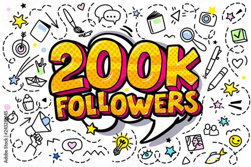 Vászonkép 200K followers illustration in pop art style.
