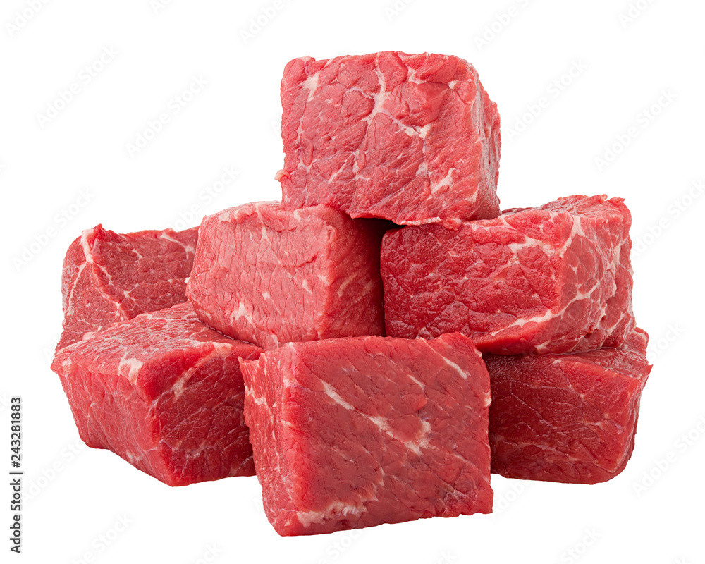 Fototapeta meat, beef, isolated on white background, clipping path, full depth of field