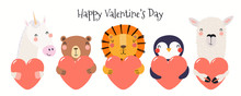 Hand Drawn Card With Cute Funny Animals Holding Hearts, Text Happy Valentines Day. Isolated Objects On White Background. Vector Illustration. Scandinavian Style Flat Design. Concept For Children Print