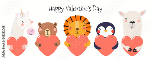 Tuinposter Illustraties Hand drawn card with cute funny animals holding hearts, text Happy Valentines day. Isolated objects on white background. Vector illustration. Scandinavian style flat design. Concept for children print