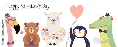 Deurstickers Illustraties Hand drawn card with cute funny animals, hearts, text Happy Valentines day. Isolated objects on white background. Vector illustration. Scandinavian style flat design. Concept for children print.