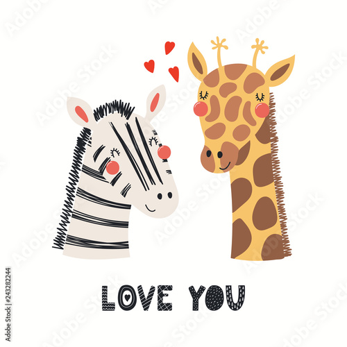 Printed kitchen splashbacks Illustrations Hand drawn Valentines day card with cute funny zebra, giraffe, hearts, text Love you. Isolated objects on white background. Vector illustration. Scandinavian style flat design. Concept children print.
