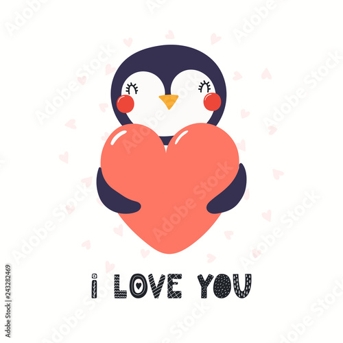 Printed kitchen splashbacks Illustrations Hand drawn Valentines day card with cute funny penguin holding heart, text I love you. Isolated objects on white background. Vector illustration. Scandinavian style flat design. Concept children print
