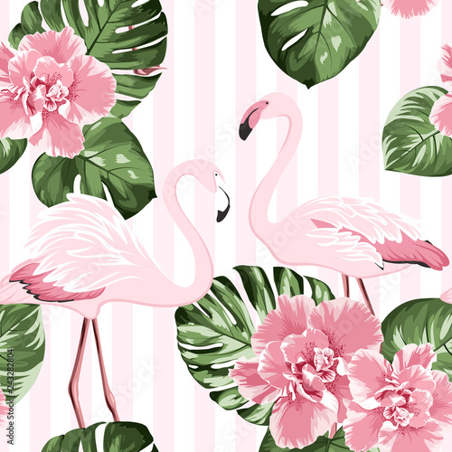 Naklejki Flamingi  naklejka-na-wymiar-exotic-pink-flamingo-birds-couple-bright-camelia-flowers-tropical-monstera-green-leaves-trendy-seamless-pattern