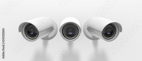 Security Cameras CCTV isolated on white background Canvas Print