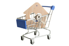 Grocery Trolly With Decorative Wooden House
