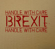 Label Brexit Handle with care Thank you on cardboard
