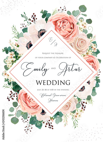 Wedding invite, invitation, save the date card floral design Tablou Canvas