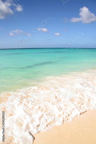 Staande foto Caraïben Beautiful white sand beach with turquoise sea & blue sky, Aruba