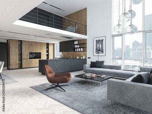 Pinturas sobre lienzo  new modern scandinavian loft apartment. 3d rendering