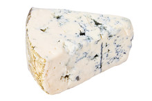 Piece Of Roquefort Cheese Isolated On White Background