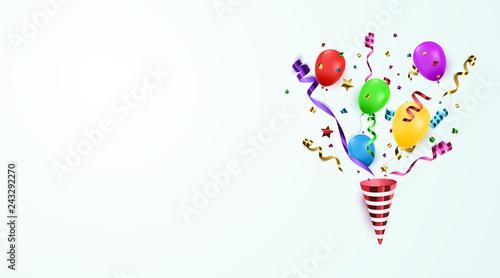 Fototapeta Vector confetti. Festive illustration. Party popper isolated. obraz na płótnie
