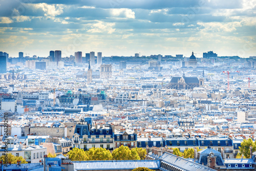 Poster Centraal Europa Panorama city of Paris from Montmartre. Beautiful travel sunset
