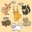 Vector set of cartoon cats. Cute hand drawn style