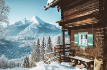 Traditional Mountain Cabin In The Alps In Winter