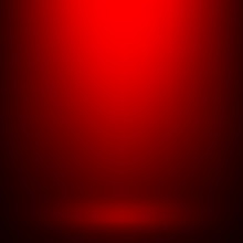 Empty Red Studio Room Background, Used As Background For Display Your Products