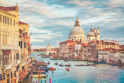 Poster Centraal Europa Canal Grande with Basilica di Santa Maria della Salute at sunset with retro vintage effect, Venice, Italy