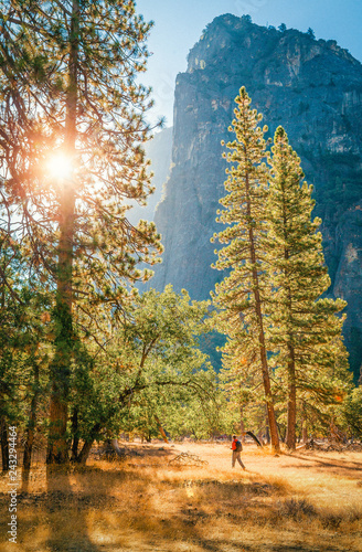 Spoed Foto op Canvas Centraal-Amerika Landen Hiker in Yosemite National Park, California, USA