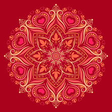 Round Mandala Pattern With Hea...