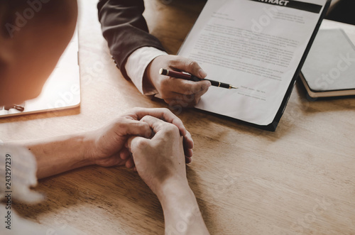 Fotografie, Obraz  legal consultants, notary or justice lawyer discussing contract document on desk