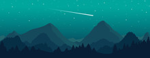 Vector Mountains And Forest Landscape With Beautiful Night Sky And Stars