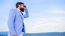 Businessman Bearded Face Sky Background. Changing Course. New Business Direction. Looking For Opportunities And New Chances. Man Formal Suit Manager Looking Direction. Developing Business Direction
