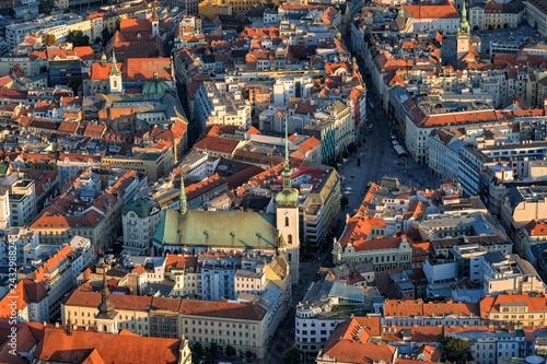Aerial view of historical center of Brno in Czech Republic. Canvas Print