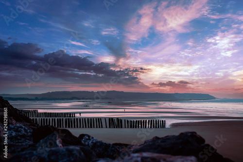 Obraz na plátně coucher de soleil sur la plage de Wissant