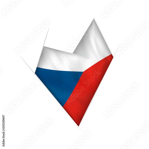 Photo  Sketched crooked heart with Czech Republic flag