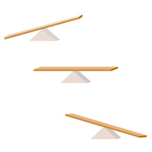 Seesaw. Set Of Three Items. Wooden Plank Balancing On A Wooden Triangle