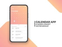Calendar App Concept October 2019 Page With To Do List And Tasks UI UX Design Mockup Vector On Frameless Smartphone Screen Isolated On White Background. Planner Application Template For Mobile Phone