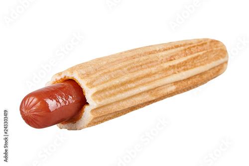 Obraz French hot dog isolated on white background. Horizontal. Ready for menu - fototapety do salonu