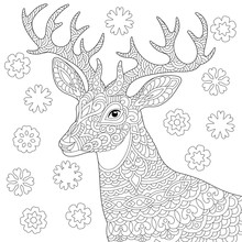 Zentangle Deer Reindeer Coloring Page