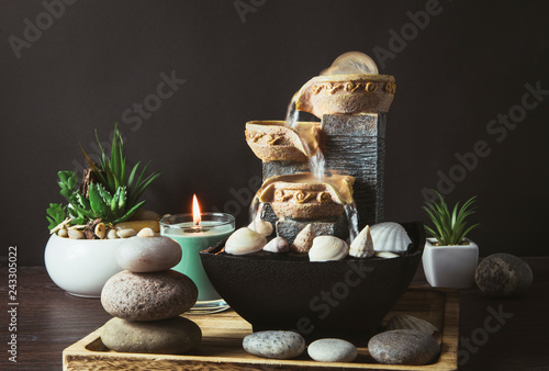 Portable indoor fountain for good Feng Shui in Your Home concept Canvas Print