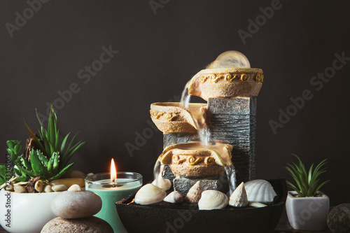 Portable indoor fountain for good Feng Shui in Your Home concept Wallpaper Mural