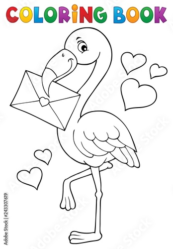 Foto op Aluminium Voor kinderen Coloring book flamingo with love letter