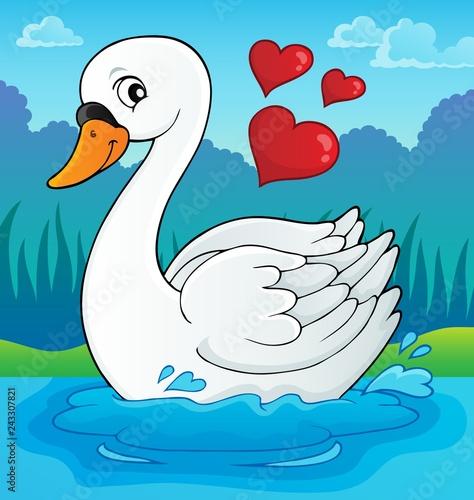 Tuinposter Voor kinderen Valentine swan theme image 2