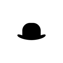 Bowler Hat Icon Isolated On White Background. Gentleman Retro Symbol.