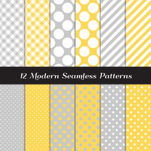 Pastel Yellow And Gray Polka Dots, Gingham And Stripes Seamless Vector Patterns. Subtle Backgrounds For Gender Neutral Baby Shower Or Wedding Invites Or Decor. Repeating Pattern Tile Swatches Included