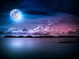 Fototapeta Fototapety z naturą - Landscape of sky with full moon on seascape to night. Serenity nature.