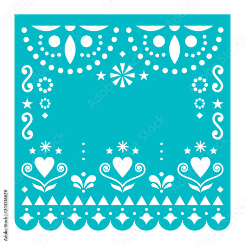 Papel Picado Template With No Text Vector Design Mexican Turquoise