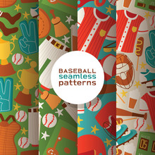 Baseball Vector Seamless Pattern Catchers Sportswear And Batters Baseballbat Or Ball For Competition Backdrop Illustration Sportsman Clothes With Catchers Glove Background Set Banner
