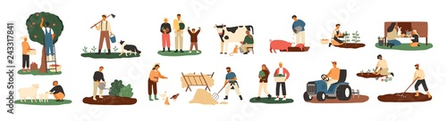 Fototapeta Set of farmers or agricultural workers planting crops, gathering harvest, collecting apples, feeding farm animals, carrying fruits, milking cow, working on tractor. Flat cartoon vector illustration. obraz