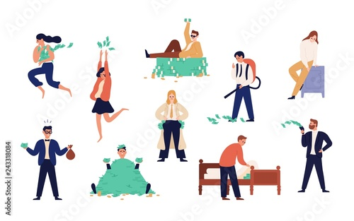 Fototapeta Bundle of rich men and women isolated on white background. Set of careless wealthy people, moneybags or nouveau riches throwing money bills, carrying and hiding them. Flat cartoon vector illustration. obraz