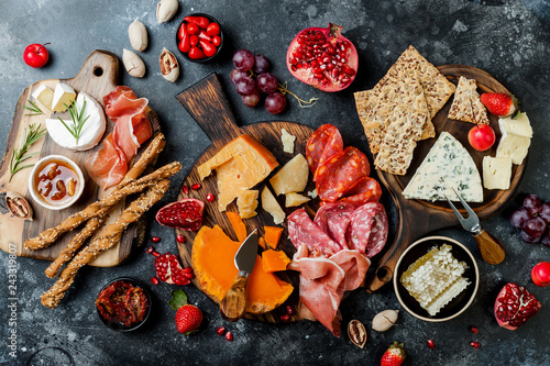 Appetizers table with italian antipasti snacks Canvas Print