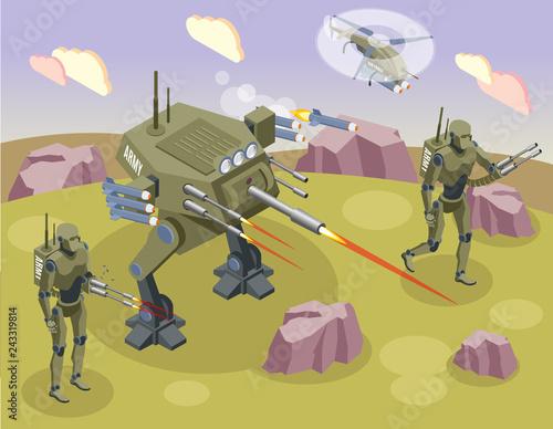 Photo  Military Robots Isometric Background