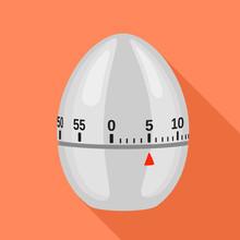 Egg Kitchen Timer Icon. Flat Illustration Of Egg Kitchen Timer Vector Icon For Web Design