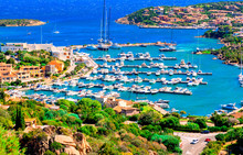 View Of Porto Cervo, Italian Seaside Resort In Northern Sardinia, Italy. Centre Of Costa Smeralda. One Of The Most Expensive Resorts In The World.